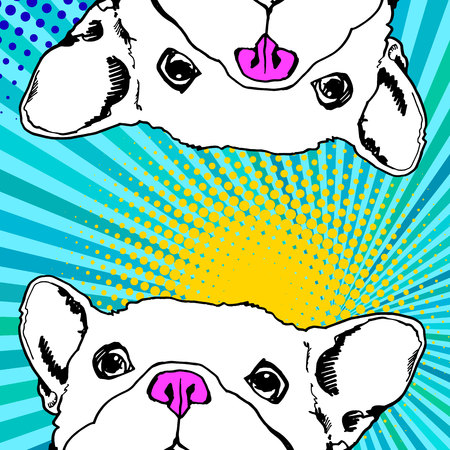 Bulldog with colorful background vector illustration.
