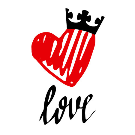 A vector of heart and the word love