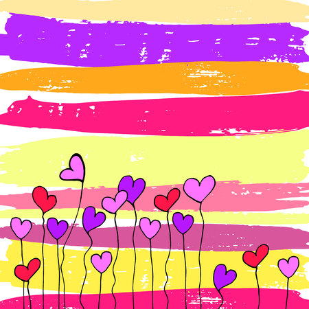 A vector of heart flowers
