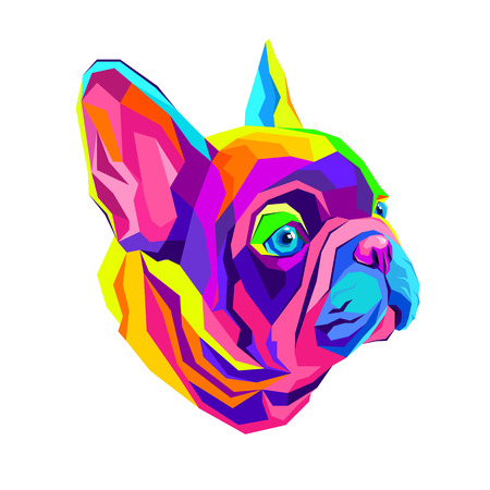 French Bulldog. illustration for a poster. Cute puppy dog.