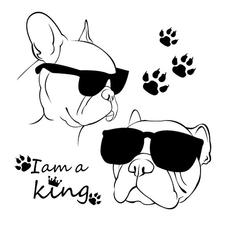 French Bulldog. Vector illustration for a poster. Cute puppy. dog in shades Ilustracja
