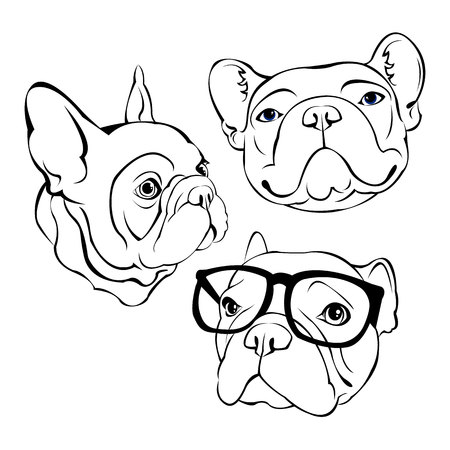 French Bulldog. Vector illustration for a poster. Cute puppy. dog in glasses Stock Illustratie