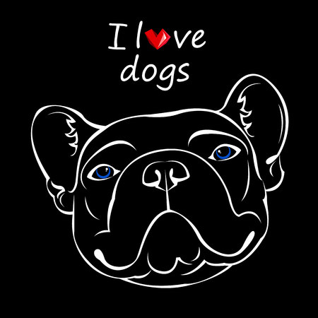 French Bulldog. Vector illustration for a poster. Cute puppy. dog