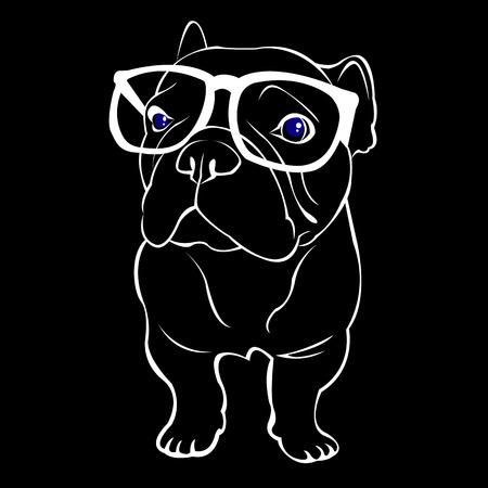 French Bulldog. Vector illustration for a poster. Cute puppy. dog in glasses Ilustrace
