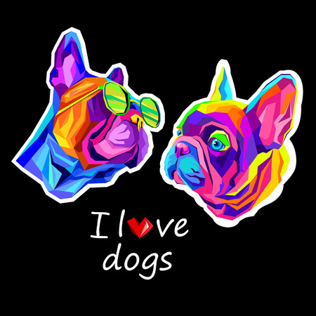 French Bulldog. Vector illustration for a poster. Cute puppy. dog in glasses Illustration