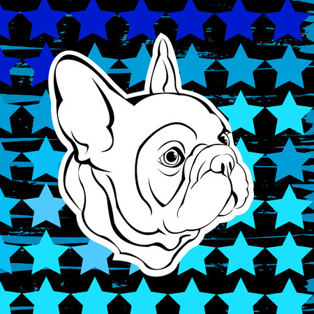 French Bulldog. Vector illustration for a card or poster. Print on clothes. Cute puppy. Pedigree dog. Illustration