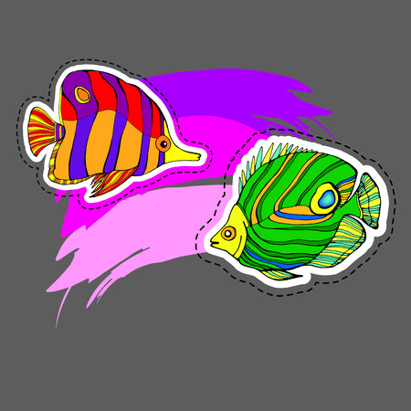 Illustration of colorful fishes in dark gray background.