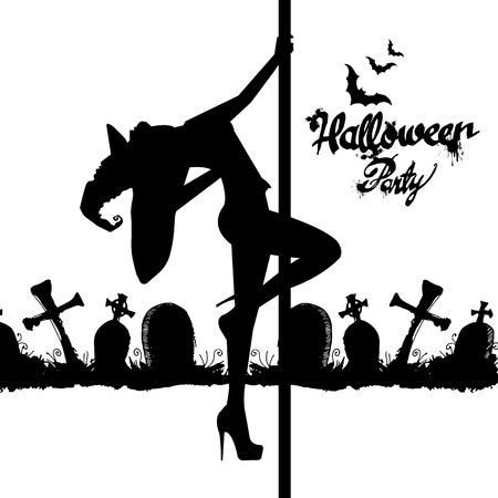 ●ハロウィン魔女のシルエットイメージをセット。魔女、ハロウィーン、ベクトル、漫画、イラスト、帽子