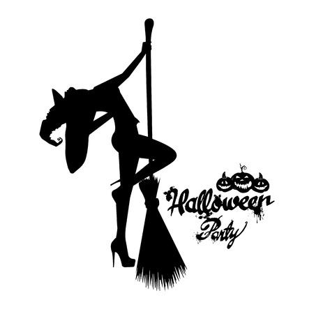 Set van silhouet afbeelding van Halloween heksen. Heks, halloween, vector, cartoon, illustratie, hoed