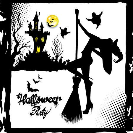 Conjunto de la imagen de la silueta de brujas de Halloween. Bruja, halloween, vector, caricatura, ilustración, sombrero Foto de archivo - 86133749
