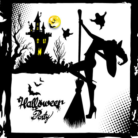 Set of silhouette image of Halloween witches. Witch, halloween, vector, cartoon, illustration, hat Ilustrace