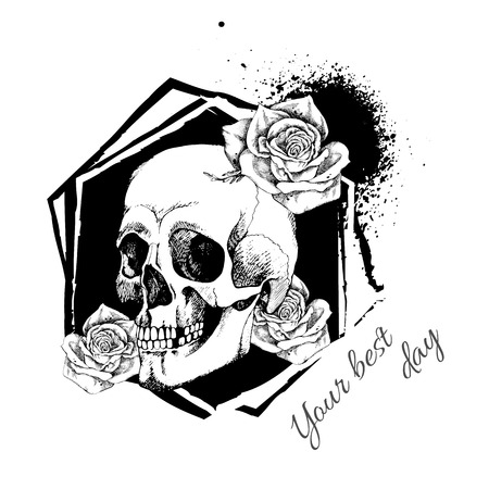 Interesting skull vector with flowers. Painted, bright and attractive. Illustration