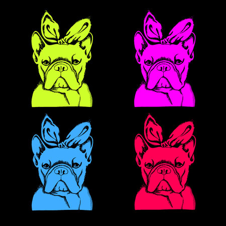 French Bulldog. Vector illustration for a card or poster. Print on clothes. Cute puppy.