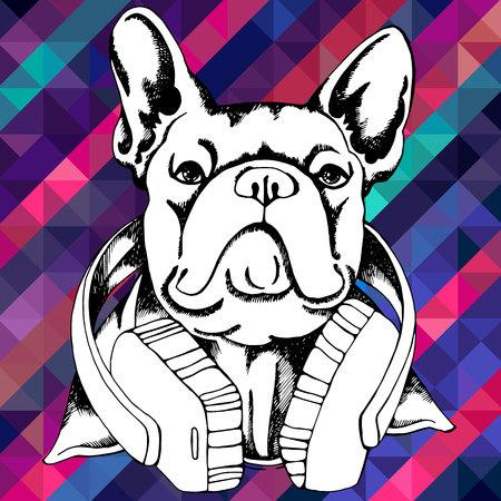 Bulldog francés. Ilustración del vector para una tarjeta o un cartel. Impresión en ropa. Lindo cachorro. Perro pedigrí. Foto de archivo - 89787273