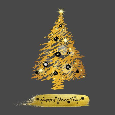 Christmas tree, vector illustration. Can be used for greeting card, invitation, banner, web design. Illustration