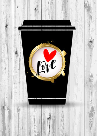 coffee, cup, love, drink, cafe, design, vector, illustration, heart, hot, white, breakfast Ilustração