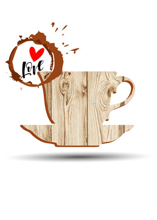coffee, cup, love, drink, cafe, design, vector, illustration, heart, hot, white, breakfast Stok Fotoğraf - 110312517