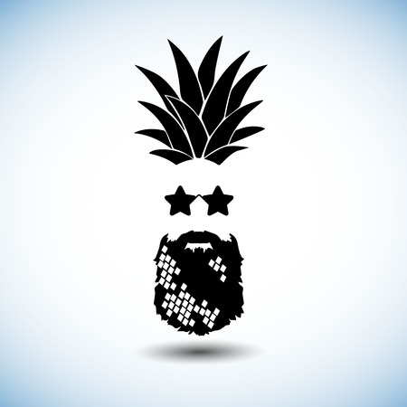 pineapple, vector, fruit, food, tropical, summer, design, illustration