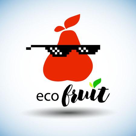pear, fruit, food, organic, illustration, leaf, fresh, healthy, nature, natural, vector Çizim