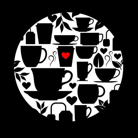 coffee, cup, love, drink, cafe, design, vector, illustration, heart, hot, white, breakfast Çizim