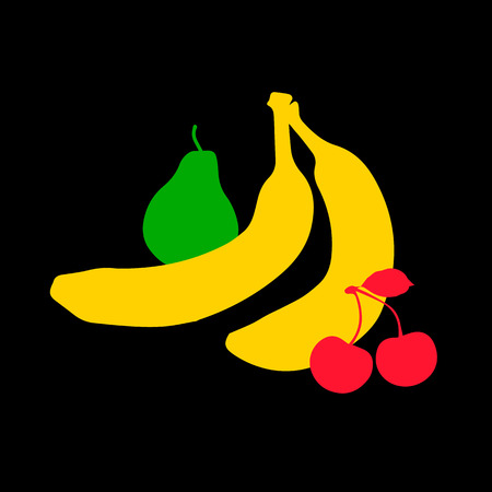 fruit, food, vector, fresh, healthy, illustration, tropical, banana, colorful Stok Fotoğraf - 110312583