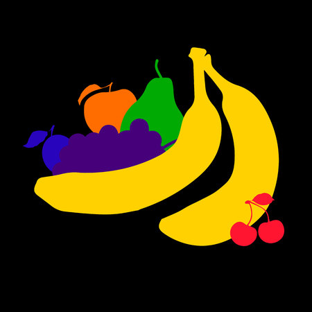 fruit, food, vector, fresh, healthy, illustration, tropical, banana, colorful