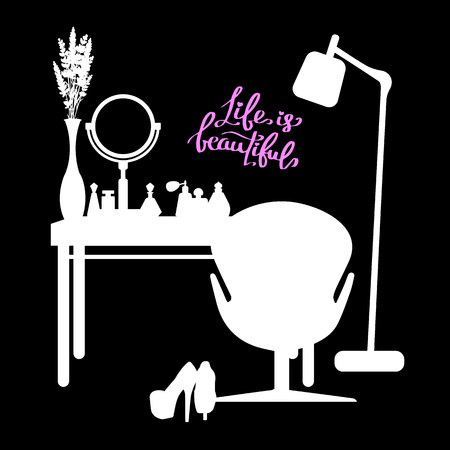table, female, makeup, mirror, fashion, perfume, room, furniture, glamour, interior Ilustrace