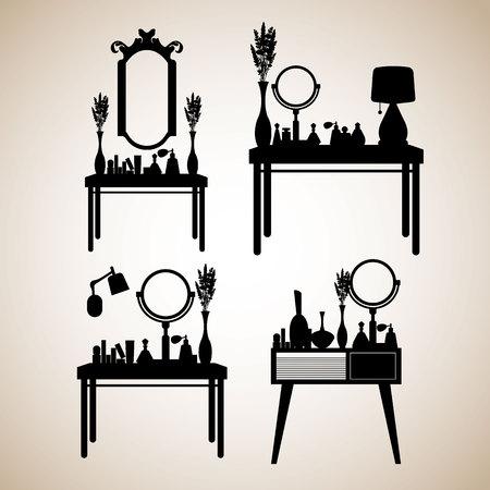 table, female, makeup, mirror, fashion, perfume, room, furniture, glamour, interior Illustration
