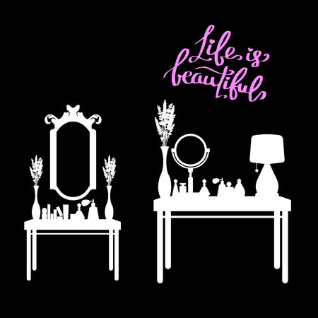 table, female, makeup, mirror, fashion, perfume, room, furniture, glamour, interior Çizim