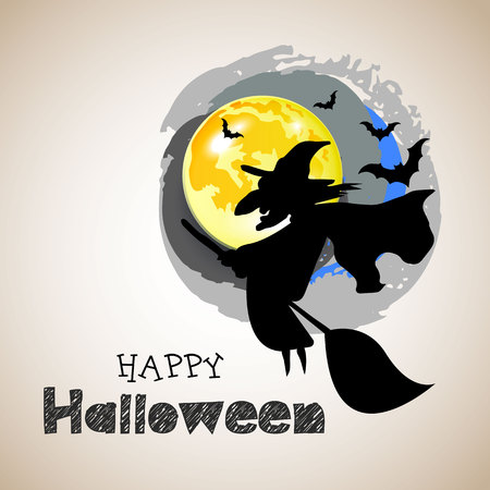 halloween, witch, hat, vector, illustration, holiday, black, silhouette, cartoon, night