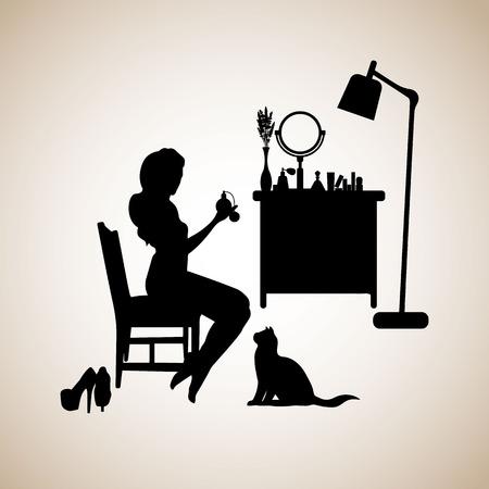 table, female, makeup, mirror, fashion, perfume, room, furniture, glamour, interior, vector