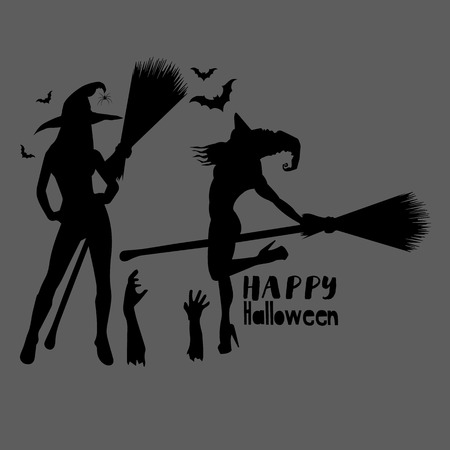 halloween, witch, hat, vector, illustration, holiday, black, silhouette, cartoon, night Stok Fotoğraf - 110186635