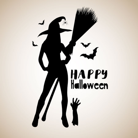 halloween, witch, hat, vector, illustration, holiday, black, silhouette, cartoon, night Stok Fotoğraf - 110186637