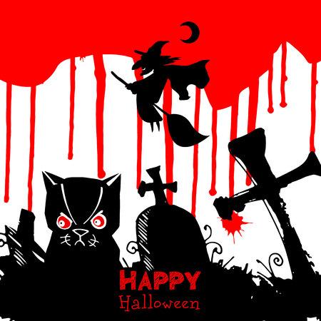 vector, spider, halloween, moon, illustration, cat, cartoon, feline, cute, pumpkin, background, dark