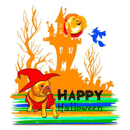 vector, illustration, pet, pumpkin, cartoon, design, icon, dog, bulldog, puppy, animal