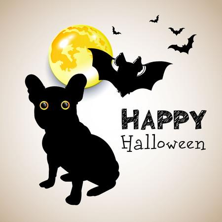 vector, illustration, pet, pumpkin, cartoon, design, icon, dog, bulldog, puppy, animal Vector Illustration