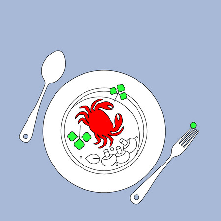 seafood, vector, food, restaurant, plate, sea, illustration