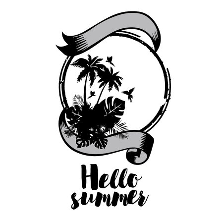 palm, summer, tropical, tree, vector, silhouette, coconut Stok Fotoğraf - 117349448