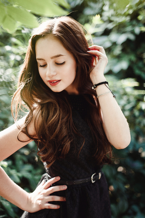 Beautiful Young Girl In Black Dress With Long Hair Super Cute