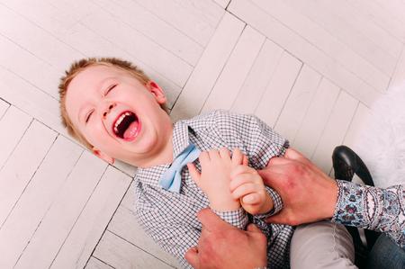 12 month old: Laughing Baby Boy having fun