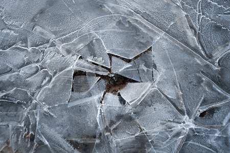 crevasse: Spring background - meltinh and cracking ice
