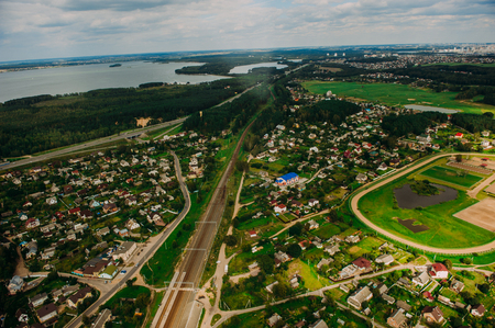 Nature in Belarus. View from helicopter, Minsk