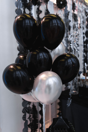 Cute wedding decor with black baloons
