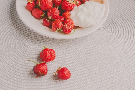 Bunch of bananas and strawberries.  Concept of healthy breakfast. Stock Photo