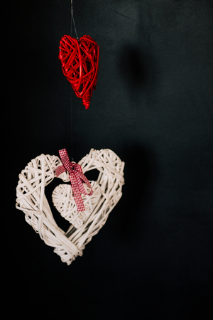 Valentine day love beautiful. Heart gaarland hanging on branch of tree on
