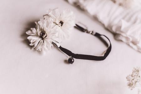 black Velvet Choker Necklaces Stock Photo