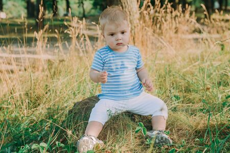 1 year old european cute boy on the grass. Birthday anniversary. Banque d'images