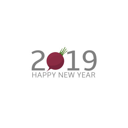 2019 Happy New Year Beetroot icon Food and holidays concept Vector Illustration