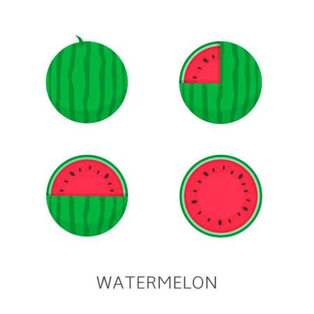 Watermelon icon set Vector illustration Vegan concept Imagens - 112581950
