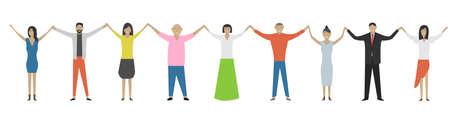 Men and women holding hands. Happiness, friendship, teamwork, gender equality. Victory or success concept. Hands up. Vector illustration Illustration